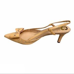 Monet patent leather bow slingback kitten heels